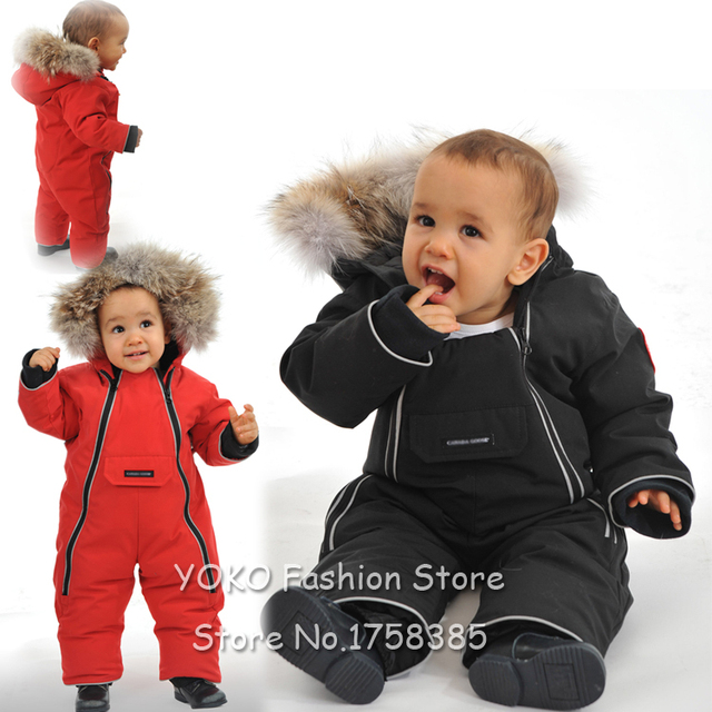 e87e4951778 Baby Girls Boys Infant s Designer Style Fur-Trim Down Snowsuit Black Red  Blue Little Child Baby Winter Clothes Rompers Outwear
