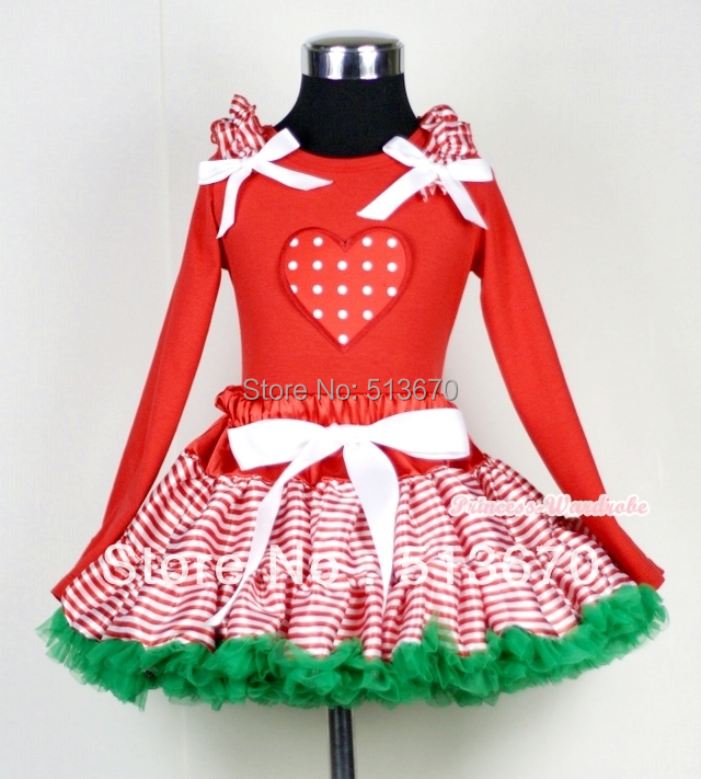 Xmas Red White Streak Pettiskirt Long Sleeve Top Ruffle Bow&White Dot Heart MAMB20 my 1st christmas rwg lighting red top xmas dot waist girl pettiskirt set 1 8year