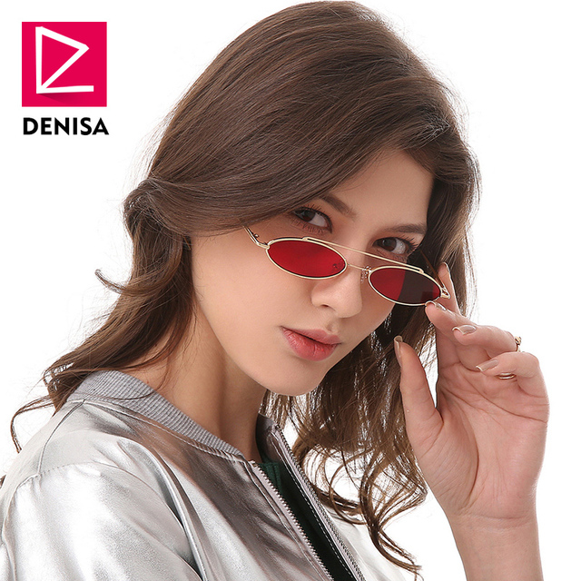 e8b9d518e1 DENISA Retro Small Oval Sunglasses Women Men 2018 Fashion Vintage Glasses  Men Clear Red Sun Glasses Women UV400 zonnebril G18931