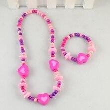 TopHanqi Прекрасный Сердце Ювелирные наборы для девочек красочные ожерелье из деревянных бусин браслет для детей детский день рождения ювелирные изделия подарок