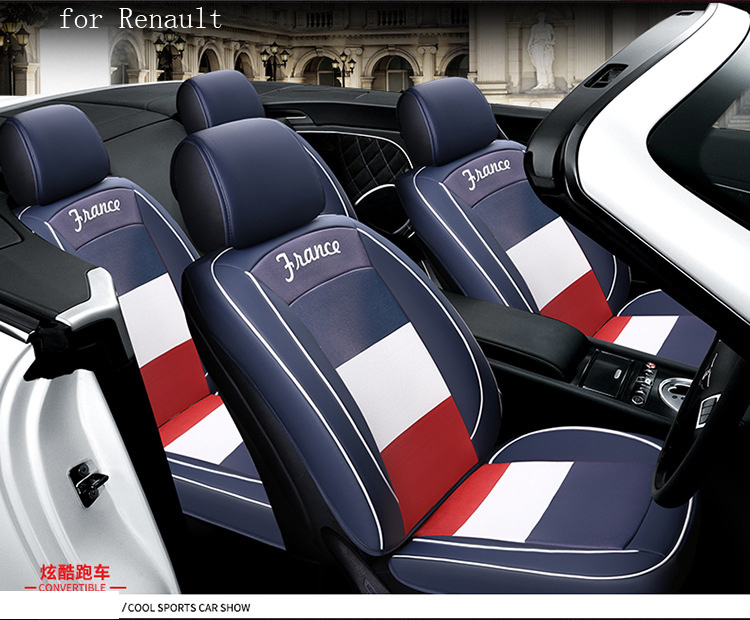 BABAAI flag pattern pu leather car seat cover for renault megane 2 captur renault duster logan front rear full universal car microfiber leather steering wheel cover car styling for renault scenic fluence koleos talisman captur kadjar