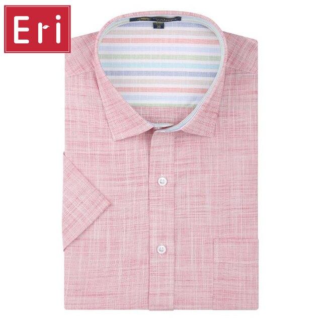 Os Homens Se Vestem Camisas de linho 2017 New Non Ferro Slim Fit Curta Marca Formal do Negócio de Moda Casual Sólidos Camisas Sociais de manga 3XL X068
