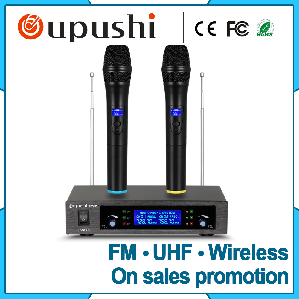Low Price echo mic uhf dual-channel wireless microphone system