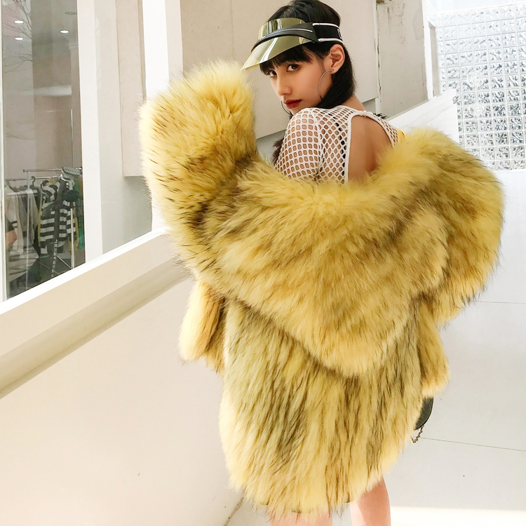 OFTBUY Real Fur Coat Women Winter Jacket White Natural Raccoon Fur Knitted Parka Patchwork Fashion Korean 2019 Luxury Jacket