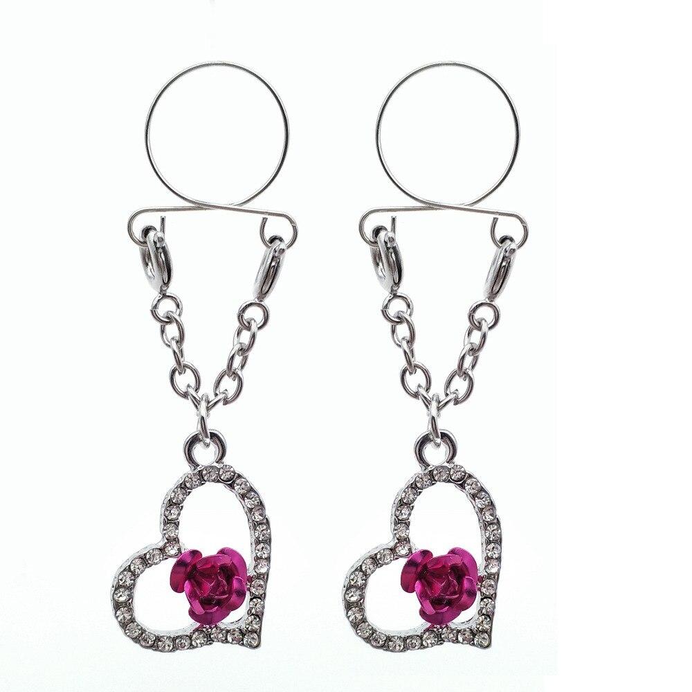 Adjustable Nipple Rings Heart Pendant Non Pierced  Faux Body Piercing Jewelry