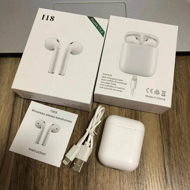 Touch control i18 TWS Bluetooth Earphone Wireless Bluetooth headset super bass wireless Earphones pk i10 i12