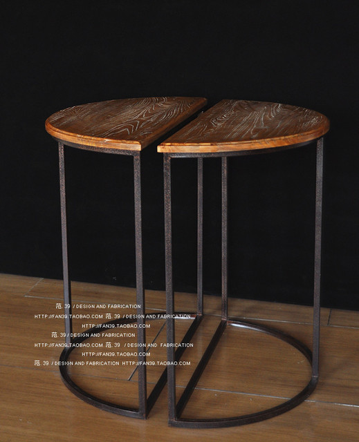 Delightful LOFT American Country Jiasong Wooden Formwork Face Half Round Table Bar  Tables Living Room Coffee Table