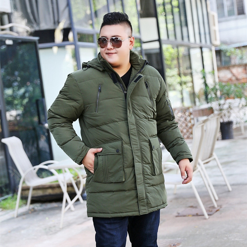 Image 3 - Winter plus size  oversize code  long section of white duck down jacket big size  male fat man men shut coat 10XL 9XL 8XL-in Down Jackets from Men's Clothing