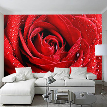 Flower Wallpaper Custom Mural Non Woven Wall Paper High Quality Red Blue Rose Living