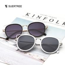 SUERTREE Sunglasses Women Men Metal Round Fashion Shades Oculos Gafas de sol JH9009