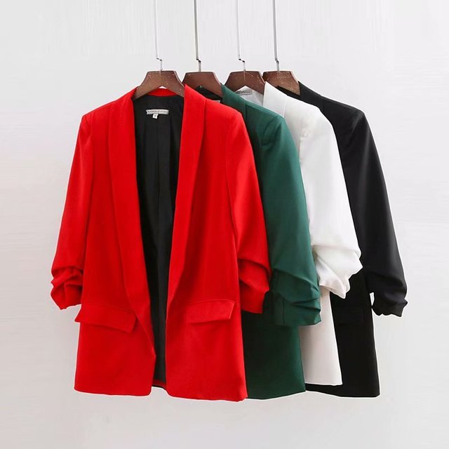 2018 New Arrivals Summer Slim Fold Sleeve Solid Color Women Blazers and Jackets D080