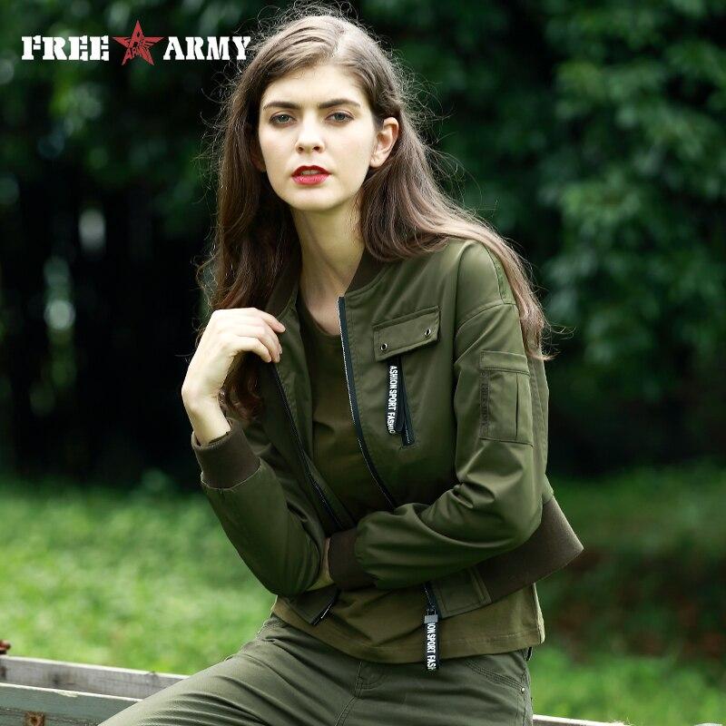 FREEARM Fashion Personality Bomber Jacket Military Army Green Short Coat Print Female Slim Jacket Casual Women Outerwear & Coats