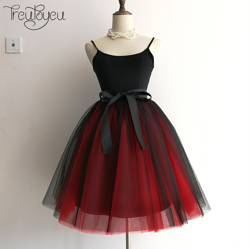 Gothic 6 Layers 65cm Mix Colors Tutu Tulle Skirt Women Streetwear High Waist Pleated Midi Skirts spudniczki jupe rokken faldas