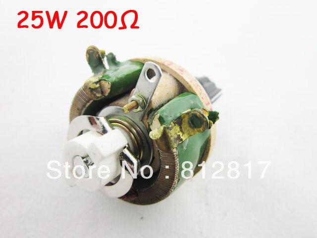 25W 200 Ohm Round Ceramic Tray Black <font><b>Knob</b></font> Adjustable Resistor <font><b>Rheostat</b></font>