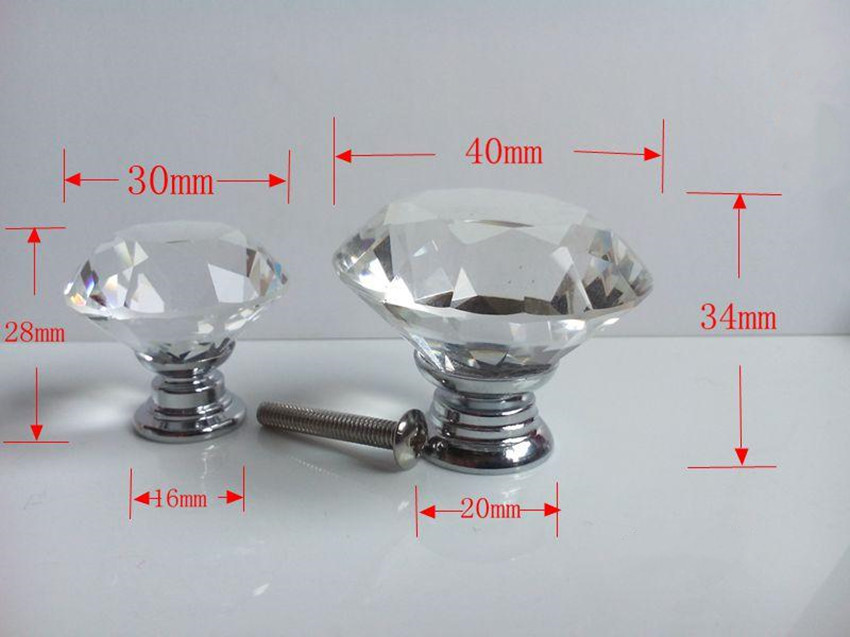 30mm 40mm clear pan head diamond crystal modern furniture knobs silver chrome glass drawer cabinet dresser door knob pull handle dia 30mm 40mm glass drawer cabinet knobs pulls bubble crystal dresser door handles knobs silver chrome modern furniture knobs