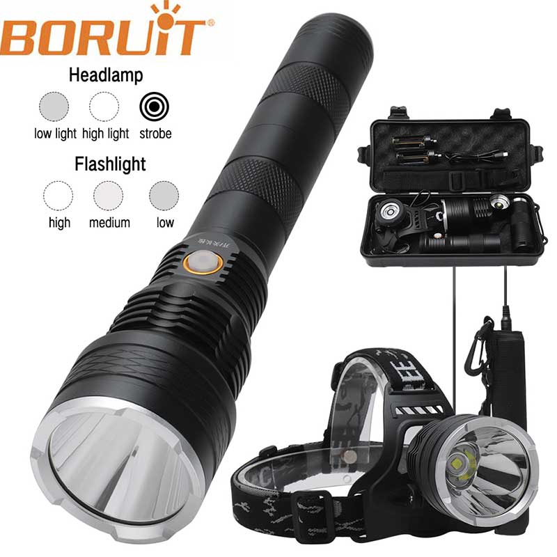 BORUiT 30000LM Powerful LED Flashlight Head light USB Rechargeable Flashligh IPX4 XHP50.2 18650 Lamp For Camping Torch lamp