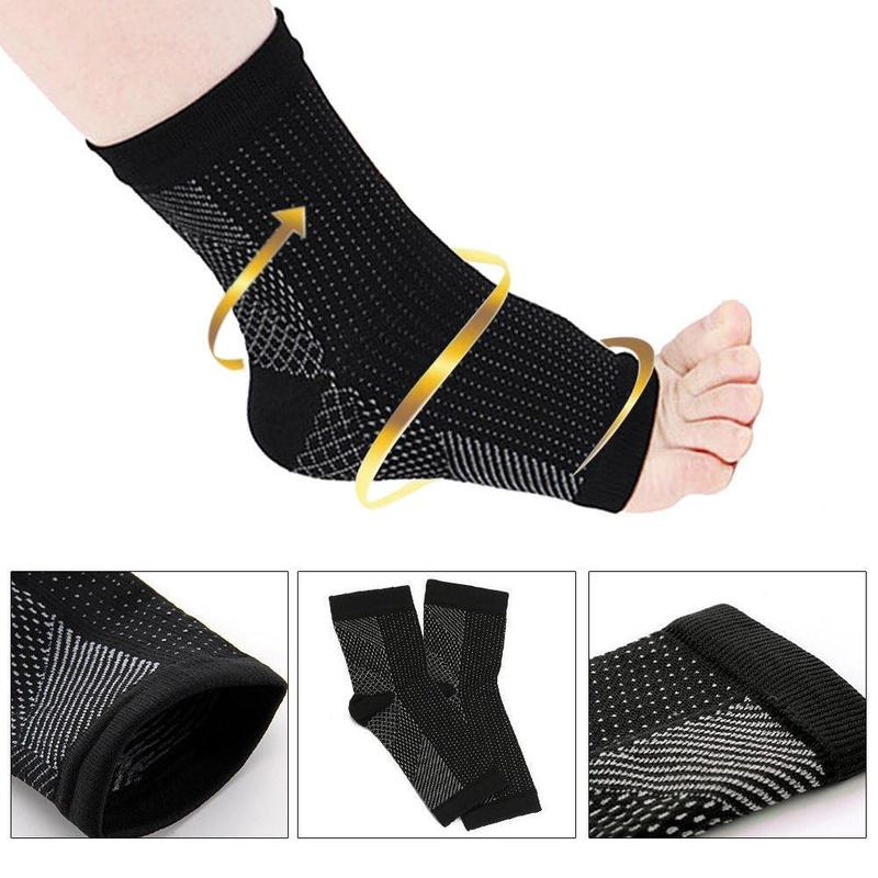 1 Pair Anti Fatigue Compression Foot Sleeve Socks Ankle Support Running Cycle Basketball Sports Outdoor Men Ankle Brace Sock