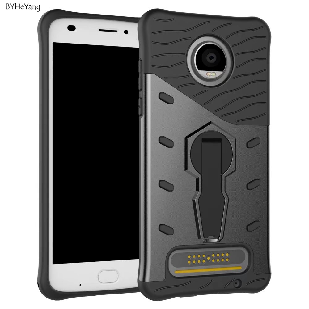 BYHeYang For Moto Z2 Play Case Rugged Hybrid TPU+PC Silicon 360 Rotate Stand Impack Shockproof for Motorola Moto Z2 Play XT1710