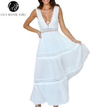 Lily Rosie Girl Sexy Deep V Neck Hollow Out Lace Dress Women's Elegant Long Party Club Dresses Sleeveless Maxi Backless Vestidos