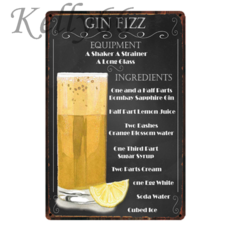 [ Kelly66 ] Cin Fizz Cocktail Metal Sign Tin Poster Home Decor Bar Wall Art Painting 20*30 CM Size y-1812