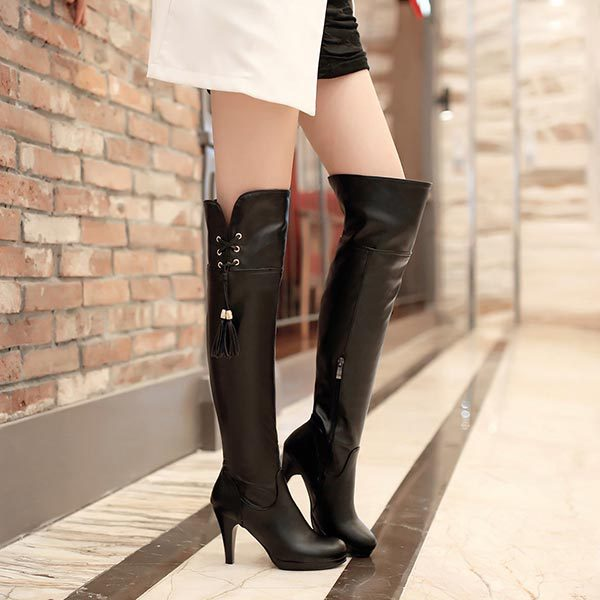 ФОТО 2014 Autumn Winter New Martin boots over Knee Tall Platform Fashion Fringed Lace up Women shoes PU leather High heels long boots