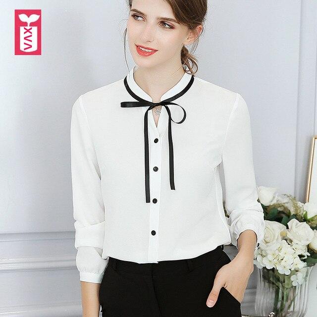 44c89cbeea0bb Korea Sweet Office Lady Bow Tie White Blouses Women Long Sleeve Pink Shirts  Female Girl Button