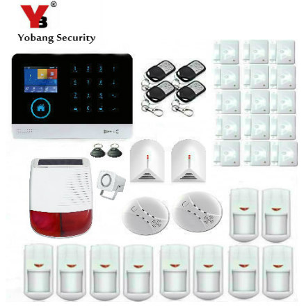 YobangSecurity Wifi GSM GPRS RFID Home Security Burglar Intruder Alarm System Kit With Solar Power Siren Smoke Fire Detector yobangsecurity wireless wifi gsm gprs rfid home security alarm system with ip camera solar power outdoor siren smoke detector