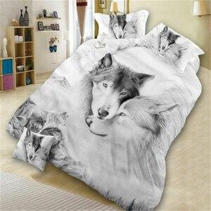 Image 2 - זאבים חמוד חתול כלב צילום הדפסת מצעים סט שמיכה שמיכת כיסוי חי פרא שבטי 3D מיטת כיסוי שני ציפות מצעים סט