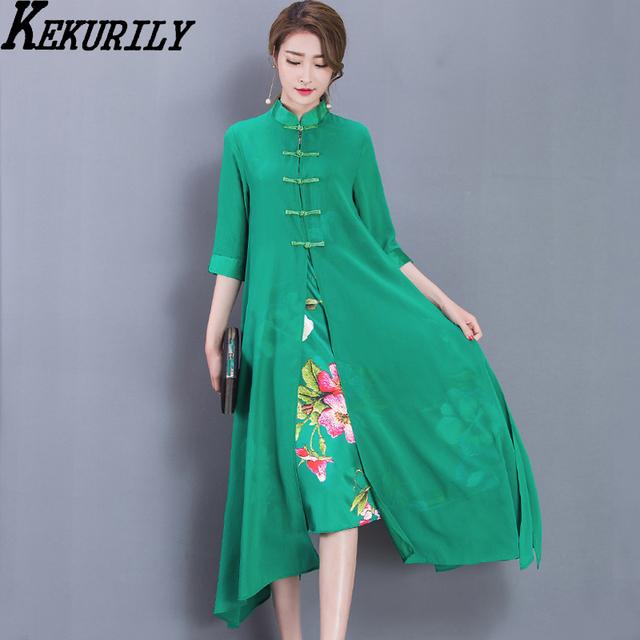 88474925f0d Trendy dresses 2018 Chinese vintage silk women summer plus size runway  trend elegant midi party dress print floral green clothes