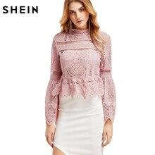 Шеин Повседневное топы с длинными рукавами для Для женщин рубашка с длинными рукавами Для женщин модные розовые Кружева Flare рукавом баски молния Назад Блузка