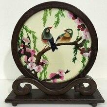 100% Handmade haft suzhou produktu półki dekoracji skrzydełka kurczaka stół z drewna ekran dwustronny haft prezent wystrój domu