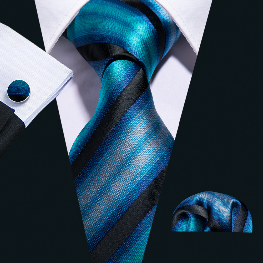 8.5cm Fahsion Blue Striped 100% Silk Tie Set For Men Wedding Groom Gift Barry.Wang Dropshipping Neckties Handkerchief FA-5004