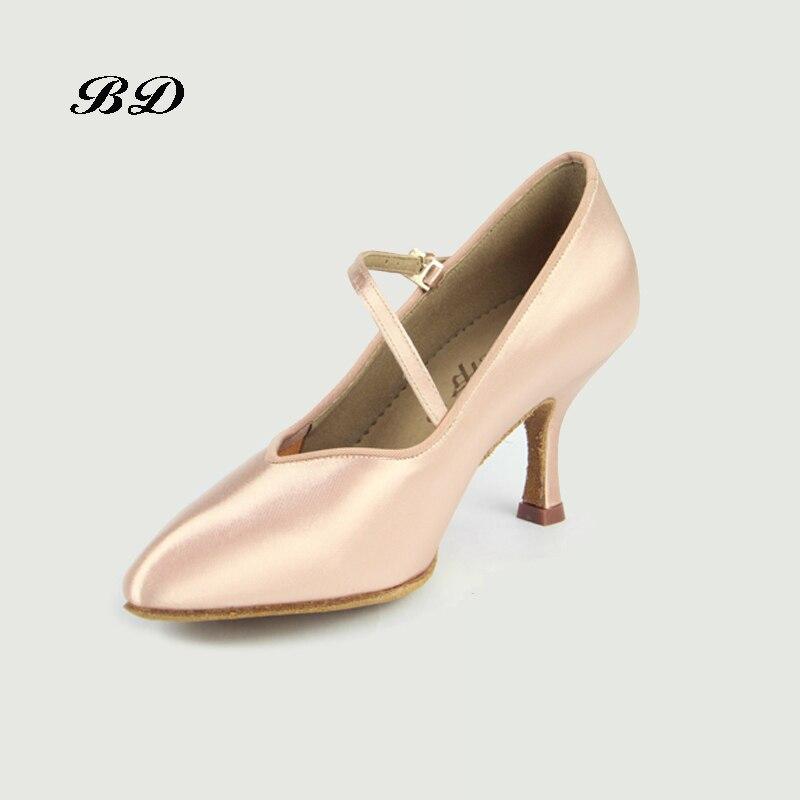 Zapatillas de baile para niña zapatos de salón de baile zapatos latinos Jazz moderno importado satén suela resistente al desgaste BD 138 brillo cómodo
