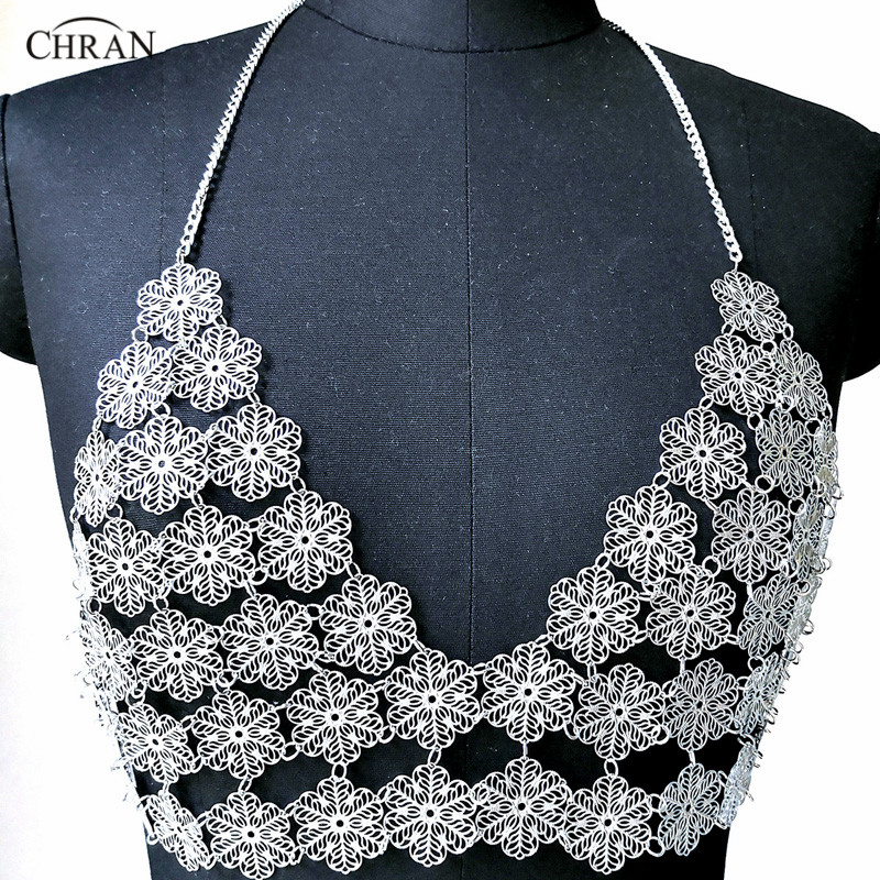 Chran Flower Chain Bra Bralete Disco Party Crop Top Beach Chainmail Cover Up Ibiza Harness Necklace EDM Festival Jewelry CRS223 embroidered flower mesh crop top