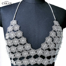Chran Flower Chain Bra Bralete Disco Party Crop Top Beach Chainmail Cover Up Ibiza Harness Necklace EDM Festival Jewelry CRS223 chran gem bead crop top chainmail rave bra black chain shoulder necklace ibiza sonar wear edm outfit body jewelry chain crn2801