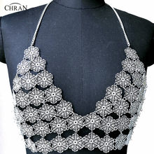 Chran Flower Chain Bra Bralete Disco Party Crop Top Beach Chainmail Cover  Up Ibiza Harness Necklace EDM Festival Jewelry CRS223 b6d08a83f714