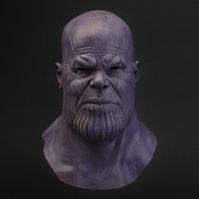 Thanos Masker Cosplay Avengers Endgame Thanos Kostum Aksesori Lateks Masker Helm Full Face Halloween Carnival Party Alat Peraga(China)