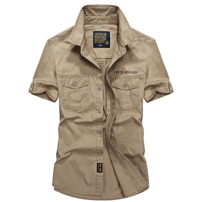 AFS JEEP New Summer Men Shirt Military Style Cotton Short Sleeve Army Shirt Men Brand High Quality Camisa Social Masculina