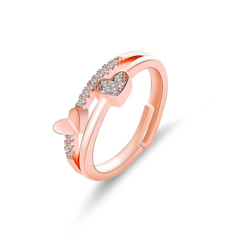 Elegant Heart-shaped Ring Open Rings Wedding Jewelry For Women-It Can Be adjustable
