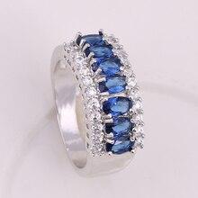 Noble De Luxe Saphir CZ Anneaux De Mariage Pour Les Femmes AAA + Zircon Cubique Bague de Fiançailles anillos bague anel feminino WR024(China (Mainland))