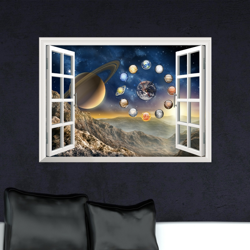 Velké 3D umění nástěnné hodiny nálepka moře oceán slon hvězda žárovka vzor samolepky nástěnné hodiny pro dětský pokoj Obývací pokoj Obtisky
