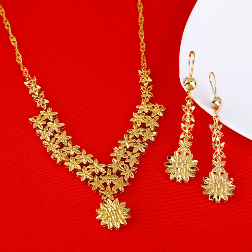 22k Gold Ethiopian Jewelry Sets For Bride Wedding Necklace Earrings Arab  Africa Jewelry Gifts(china