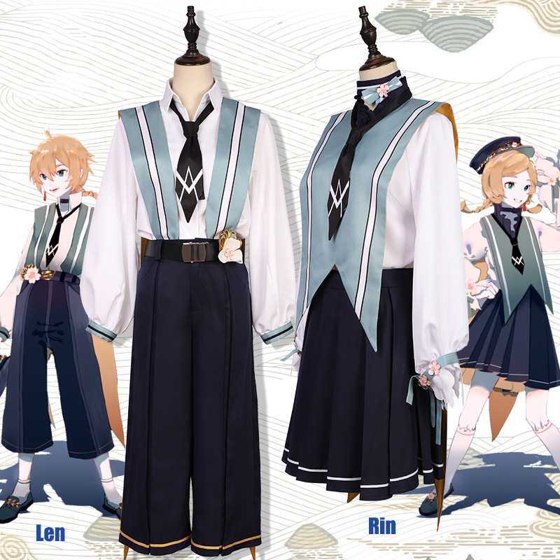 Anime! Vocaloid Kagamine Rin Kagamine Len Sakura of Spring Uniform Cosplay Costume Halloween Daily Suit 2019 New Free Shipping