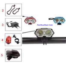 VICMAX 2016 New High Quality 5000 Lumen Bike Light Bicycle 2x C-XM-T6 LED Light Bike with Battery Pack & Charger + Rear light