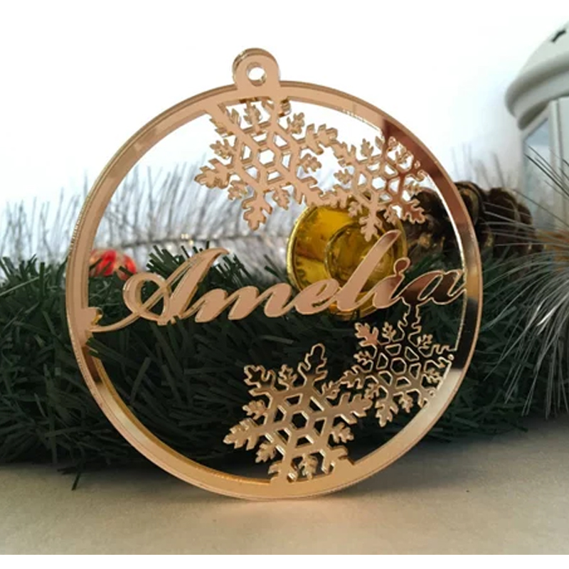 Schneeflocke Personalisierte Name Baum Ornament Wodden Name