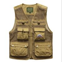 Men Mesh vest with multi pocket Hollow Out Breathable V Neck Casual Waistcoat High Quality Male OUTWEAR Clothing military Style