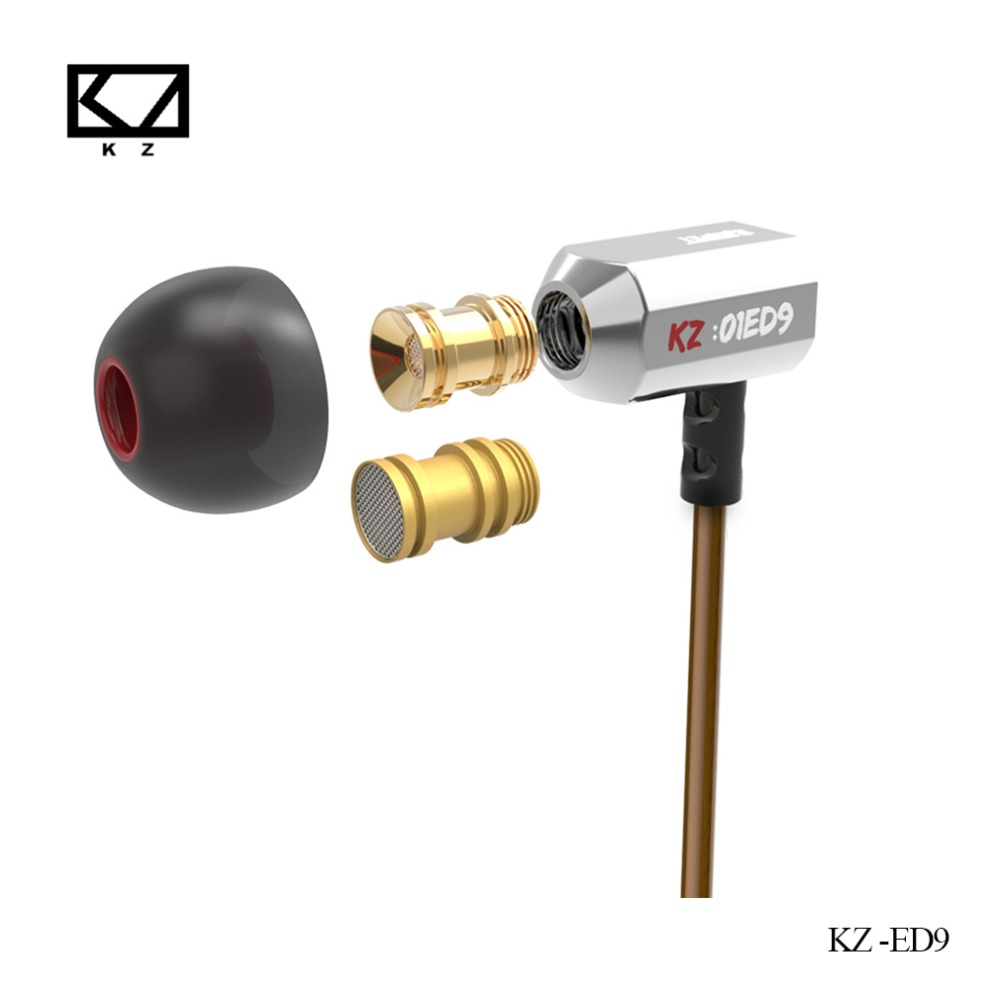 KZ ED9 3.5mm HiFi In-Ear Tuning Nozzle Earbuds Earphone Bass Stereo EarphonesFor Mobile Phone PC with microphone Black/White