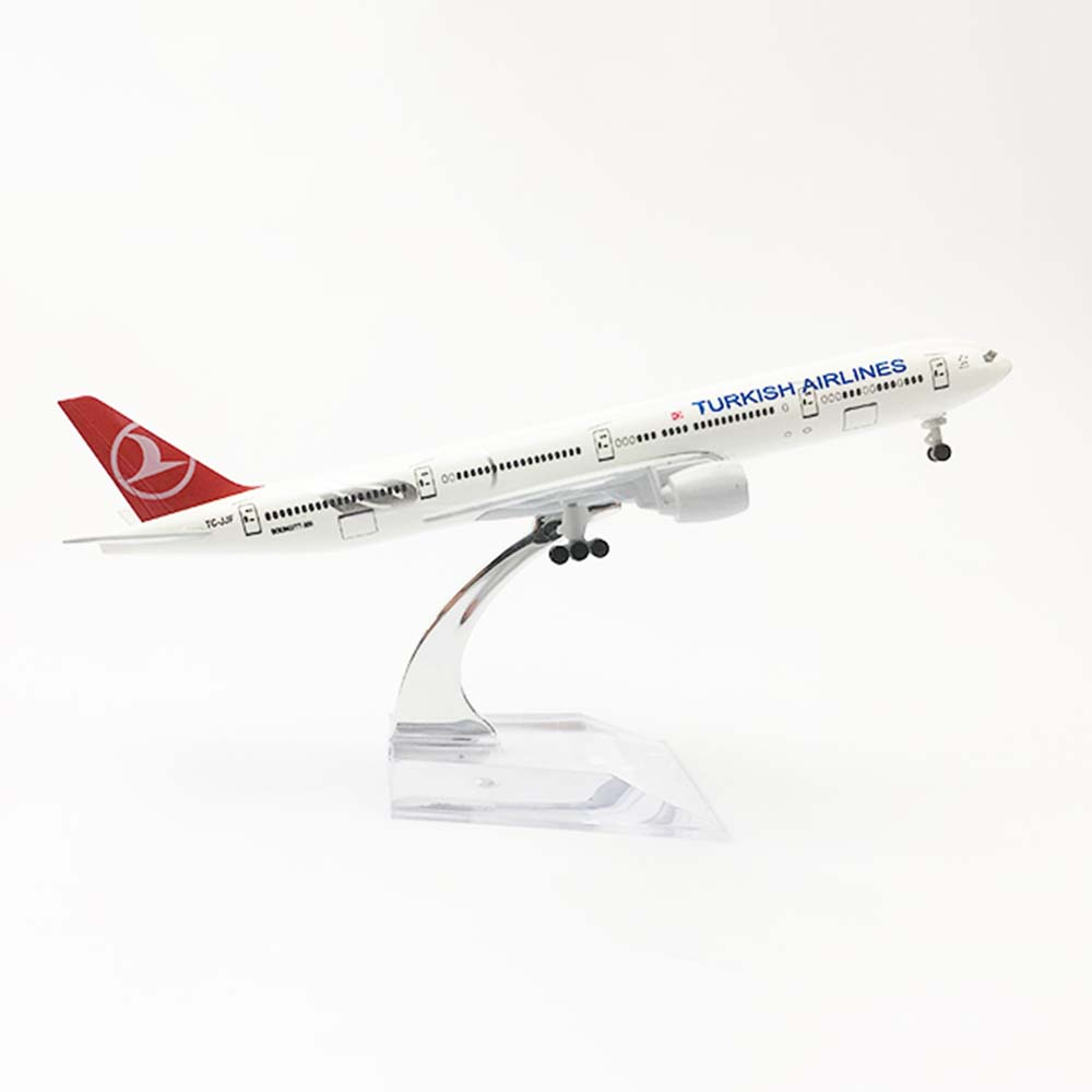 20cm Aircraft Boeing 777 Turkish Airlines Alloy Plane B777 With Wheel Model Toys Children Kids Gift For Collection