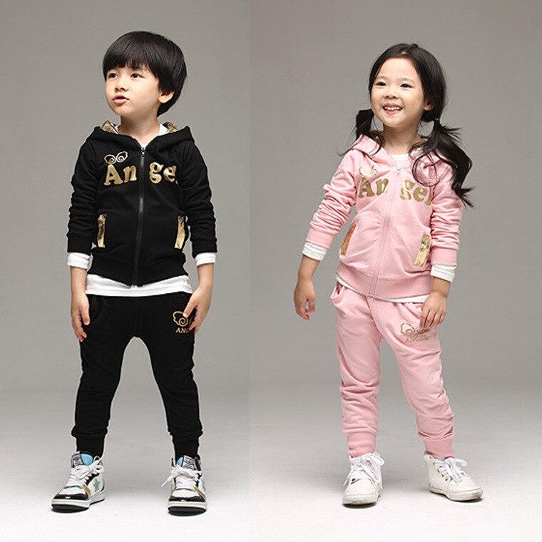 Fashion kids set children sports suit kids angel wings set 2 pcs set(jacket+pants) cartoon sets high quality 2 colors size 2-6T