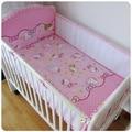 ¡ Promoción! 5 unids malla hello kitty bedding set de dibujos animados de algodón bebé parachoques cuna bedding set, incluye (4 bumpers + hoja)